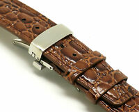 20mm Brown Thin Leather Watch Strap CROCO Steel Deployant Clasp