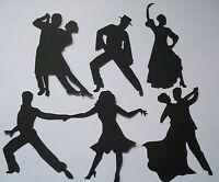 10 SETS OF LADY MAN DANCERS DIE CUT SILHOUETTE BLACK CARD BLACK OR WHITE + VINYL