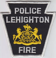 Lehighton PA Pennsylvania FIRE POLICE patch CHEESECLOTH BACK vintage/old