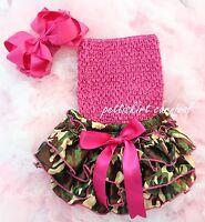 Newborn Baby Girls Camo Satin Bloomers Hot Pink Tube Top Bow Headband 3pc NB-24M