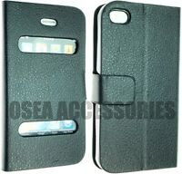 For Apple Iphone 4 4G 4S PU Leather Case Cover Protector Screen Wallet Book Flip