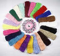 "Lot 24 Pcs 1.5"" baby girl toddlers crochet headbands baby girl hair bow  US new"
