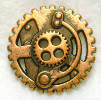 Steampunk Button Machine Mechanism Copper PierceD FREE US SHIPPING