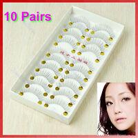 10 Pair Natural Lower Bottom False Eyelashes Clear Band Makeup Long Eye Lash 217