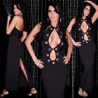 SEXY abito vestito lungo nero strass applicati taglia unica fashion GLAMOUR