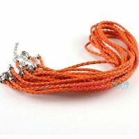 30x New Orange Leather Plaited Necklace Cord 3mm q3698745