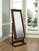 Powell Walnut Cheval Jewelry Armoire Storage Wardrobe Mirror Furniture 597-514