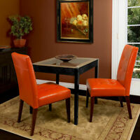 Set of 2 Elegant Design Orange Leather Armless Dining Chairs w/ Tufted Back