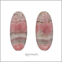2 Rhodochrosite Puffy Oval Marquise Earring Pendant Beads 13x30mm #80109