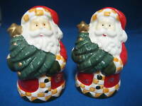 Country Christmas Santa Claus w Tree Salt and Pepper Shakers Holiday Figural