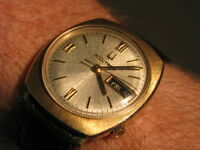 Bulova Accutron 218 Vintage 14K Gold Day/Date Wrist Watch, HEAVY CASE