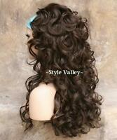 Brown 3/4 Fall Hairpiece  Long Curly Layered Half Wig Hair Piece  #8 NEW