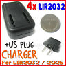 4x LIR2032 + 2032 3.6V Coin Cell US Battery charger