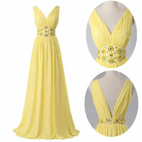 Deep V-Neck WOMENS SEXY LONG DRESS FORMAL BALL COCKTAIL EVENING PROM PARTY DRESS