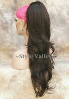 Long Medium Brown Ponytail Hairpiece Extension Wavy  Claw Clip in/on Hair Piece