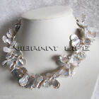 """18"""" 10-16mm 2Row Natural Silver Gray Keshi Freshwater Pearl Necklace Jewelry"""
