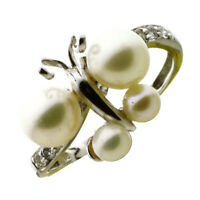 Natural Diamond Pearl Butterfly Ring Solid 18K White Gold Designer Jewelry