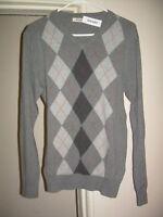 OLD NAVY Gray V Neck Preppy ARGYLE Sweater S NWT NEW FREE SHIP