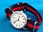 VINTAGE TIMEX MILITARY 60'S STYLE WHITE FACED 24 HOUR DIAL WATCH WITH G-10 STRAP
