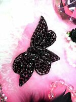 JB62 Black Glass Beaded Applique Hot Fix Iron On Patch ~ Sewing Crafts Motif