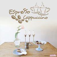 WANDTATTOO Espresso & Cappuccino Kaffee Coffee Bohne Küche Wandsticker