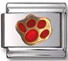 PET PAW DOG CAT Red Enamel Italian Charm 9mm Link -1x AN109 Single Bracelet Link