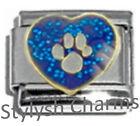 DOG PET PAW BLUE SPARKLE Enamel Italian Charm 9mm -1x DG006 Single Bracelet Link