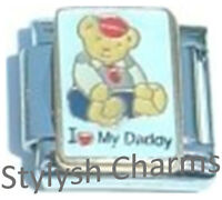 TEDDY BEAR DAD I LOVE MY DADDY Enamel Italian Charm 9mm - 1 x FA077 Single Link