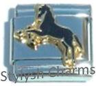 HORSE STALLION BLACK Enamel Italian Charm 9mm - 1 x HO001 Single Bracelet Link