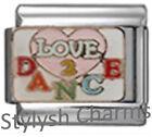 DANCE LOVE TO DANCE Enamel Italian Charm 9mm Link- 1x MD048 Single Bracelet Link