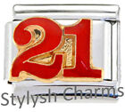 21 21ST TWENTY FIRST BIRTHDAY Enamel Italian Charm 9mm - 1 x NC139 Single Link