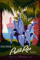 DISCOVER PUERTO RICO USA WHERE THE AMERICAS MEET TRAVEL VINAGE POSTER REPRO