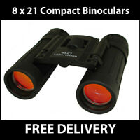 8 x 21 Pocket Roof Prism Binoculars Black Lens & Case