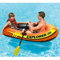 INTEX® Explorer 200 Inflatable Two Person Raft Boat - Oar Locks - 210 lb NIB