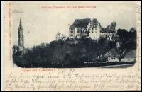 Landshut Bayern alte Postkarte 1910 gelaufen Schloß Trausnitz mit Martinskirche