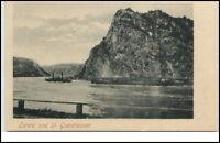 St. Goarshausen Rhein alte Postkarte ~1900 Partie an der Lorelei ungelaufen