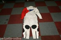AKITO WHITE RED BLUE ONE PIECE LEATHER MOTORCYCLE SUIT SIZE UK 44