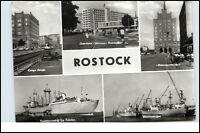 DDR Postkarte ROSTOCK ua. Schiff Typ Frieden, Hafen, Interhotel Warnow, Strasse