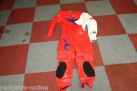 AKITO RED / WHITE / BLUE MENS ONE PIECE LEATHER MOTORCYCLE SUIT SIZE UK 44
