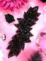 "JB77 Hot Fix Iron On Black Designer Glass Beaded Applique 7""  ~ Sewing Motif :)"