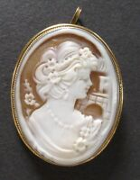Vintage Shell Cameo Silver Pendant Brooch Sterling Torre Del Greco Italy RAJOLA