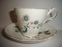 Regency English Bone China Dandelions Pattern Cup & Saucer Blues Browns