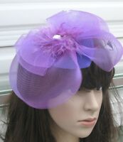 purple feather netting hair clips fascinator millinery wedding hat race ascot