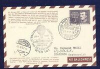 42166) Österreich Ballonpost RBF 17 Wien 28.4.57 Karte ab Luxemburg EF 2F
