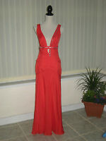 10 CAPRICE RED DRESS SILK PLUNGE FRONT LONG MAXI WEDDING CRUISE SUMMER PARTY