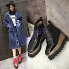 Women Fashion Real Leather Squqre Toe Lace Up Wedge Heel Casual Ankle Boots Size