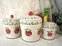 Country Apple Canister Set Of 3 Ceramic White and Red Country Kitchen Decor