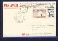 45252) SABENA FF Brüssel - Moskau 7.4.60, ab Canada R! flight canc. backside