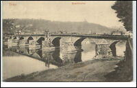 Trier Rheinland-Pfalz Postkarte ~1920/30 Tram Strassenbahn auf der Moselbrücke