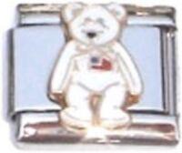 Italian Charm TY Beanie Baby Stuffed Bear US USA Flag